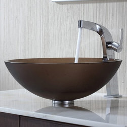 Kraus - Kraus Frosted Brown Glass Vessel Sink and Typhon Faucet - Add a touch of elegance to your bathroom with a glass sink combo from Kraus.