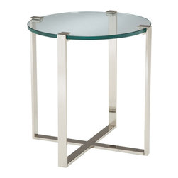 Sterling Industries - Sterling Industries 6041031 Uptown Side Table - Gorgeous Heavy Glass Top Grasped By Polished Nickel Frame.  Floating Glass Styling Suitable For Many Decor Settings.  Made Of Metal And 19Mm Glass.  Side Table (1)