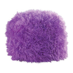 Koolekoo - Fuzzy Polyester Ottoman Pouf, Orchid - Add a pop of fantastic color and glorious texture to your room with this striking ottoman pouf. Its vivid orchid hue makes a bold statement, while its soft construction makes it a comfortable resting spot.