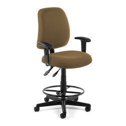 OFM - OFM Posture Task Chair with Arms and Drafting Kit in Taupe - OFM - Office Chairs - 1182AADK806 - You'll always have great posture with OFM's 118-2 Posture Series Task Stool with Arms. This task stool features built-in lumbar support 7-position adjustable arms plus adjustable back depth and height pitch and gas-lift seat height adjustment. High-quality fabric is rated to exceed 150000 double rubs and the seat back is fully upholstered. The wheeled 5-star base adds stability and includes adjustable foot ring. Weight capacity up to 250 lbs.