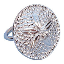 """Handcrafted Nautical Decor - Chrome Sand Dollar Napkin Ring 2"""" - Chrome Napkin Ring - This Chrome Sand Dollar Napkin Ring 2"""" is the perfect addition for those with a nautical theme kitchen. Strong, sturdy, and durable buy a set of these napkin rings to accommodate all of your guests. The chrome finish on this sand dollar will infuse your dining area with a nautical appearance. Dimensions: 2"""" Long x 2"""" Wide x 2"""" High"""