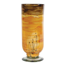 "Couleur - Sunburst Glass Hurricane Vase - Handcrafted by artisan glass blowers the Sunburst Glass Hurricane Vase is a wonderfully decorative and functional art glass accessory.  Because this is made of hand blown glass measurements are approximate - Each item will vary slightly in size and color.Specifications Dimensions: Are approximate because of the handmade nature of this product. (length x width x height) Overall: L 6.5"" x  W 6.5"" x H 16"" (approximately)Made in: Mexico (MEX)  Style: Room: Living Room, Dining Room, OfficeUse: Decoration Only - Home Accent, Table Top Decor, Wall Decor, Shelf DecorIndoor / Outdoor: IndoorCare: Wipe clean with a soft damp cloth."