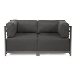 Howard Elliott - Sterling Charcoal Axis 2-Piece Sectional - Titanium Frame - A fashionable pair! Lounge in style on a sterling axis loveseat. Float the sterling axis loveseat in your room for an intimate seating arrangement. Expand your loveseat with additional chair, corner or ottoman pieces. The steel frame is available in 2 finishes allowing you to choose a frame to best compliment your color. This loveseat features boxed cushions with velcro attachments to keep the cushions from slipping and looking their best all of the time. Your sterling axis 2-Piece sectional will definitely turn heads with its sophisticated linen-like texture and vibrant color selection