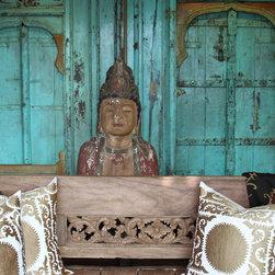 Suzani Pillows - Large Suzani Pillows, Antique Suzani Throw, Vintage Buddha Torso,