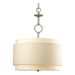 Progress Lighting - Progress Lighting P5056-134 Ashbury Three-Light Foyer Pendant with Double-Drum - Add appeal and style to any home with this graceful three light semi-flush ceiling fixture from the Ashbury collection. Featuring a unique double-drum shade with thistle weave and toasted linen fabric, this fixture creates a magnificent atmosphere for any dining room, living room, foyer, or other area.Features: