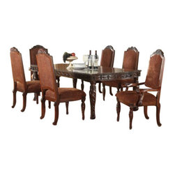"""Acme - 7-Piece Quimby Cherry Finish Wood 4 Leg Formal Dining Room Set - 7-Piece Quimby cherry finish wood 4 leg formal dining room set with fabric upholstered chair seats and backs and decorative carved backs. This set includes the Table , 2 - arm chairs and 4 - side chairs. Additional chairs and Hutch and buffet also available separately at additional cost. Table measures 46"""" W x 66"""" L (96"""" L with 2 - 15"""" Leaves included). Arm chairs measure 46"""" H at the back , Side chairs measure 46"""" H to the back. Some assembly required."""
