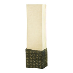China Furniture and Arts - Zen Tranquility Table/Floor Lamp - Zen style with its signature of sleek and straight lines, this elegant hand engraved Chinese calligraphy stone floor lamp that relates, in poetic form. Light from behind the linen shade exudes peacefulness and serenity. 75-watt max. (Bulb not included)
