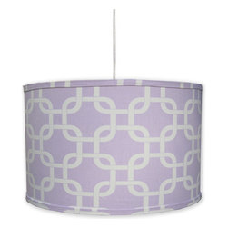 "Doodlefish - Links Lilac Pendant Shade - Our modern Links fabric in a light lilac purple are perfect for the clean look of a hanging pendant shade. The light is 16""d by 13""tall. It comes with a sleek white pluggable cord that measures 18' in length. Our pendants are hand made in America and are UL Listed.   This pendant uses one 40 watt or less bulb that is not included."