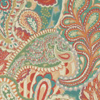 Orange, Teal, Green, Orange, Paisley Contemporary Upholstery Fabric By The Yard - This contemporary upholstery jacquard fabric is great for all indoor uses. This material is uniquely designed and durable. If you want your furniture to be vibrant, this is the perfect fabric!