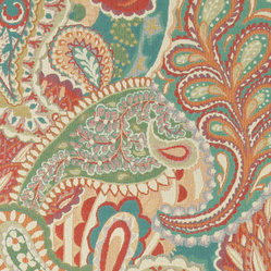 Orange, Teal, Green and Orange, Abstract Paisley Contemporary Upholstery Fabric - This contemporary upholstery jacquard fabric is great for all indoor uses. This material is uniquely designed and durable. If you want your furniture to be vibrant, this is the perfect fabric!