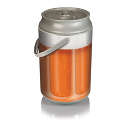 "Picnic Time - Mega Can Cooler - Beer Glass Can - Extra large (12.25"" diameter X 20.75"" high) insulated plastic cooler with pivoting handle and removable lid; 27-can capacity (5-gallon). Can also be used as a seat. Made of HDPE."