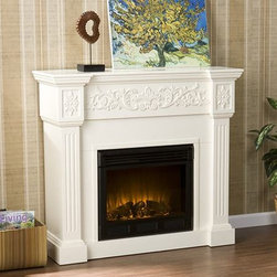 Holly and Martin - Huntington Electric Fireplace Cabinet Mantel Package in Ivory - 37-131-023-6-18 - Elegant panels and carvings finished in pristine ivory summarize the Huntington 44 inch Electric Fireplace Cabinet Mantel Package. A convincing LED log set and flames deliver up to 5k in BTUs to provide supplemental heating for rooms up to 400 square feet in size that can be controlled via an adjustable thermostat.