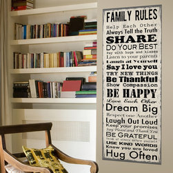 Family Rules Wall Canvas - Family Rules Wall Canvas is the perfect for the entryway, kitchen or living room. A modern twist for wall décor, large canvas wall decor has instant impact and can be hung with no nails!