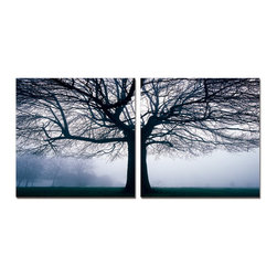 Baxton Studio - Baxton Studio Morning Haze Mounted Photography Print Diptych - Like a filigreed piece of artwork, the beauty of these tree boughs and branches are accentuated by the cold fog on this dreary morning. A two-piece modern wall art set, this photograph is printed on waterproof vinyl canvas before being mounted to the MDF wood frames. Made in China and ready to hang, this framed photo diptych is fully assembled but does not include hardware for hanging on the wall of your choice. To clean, wipe with a dry cloth.