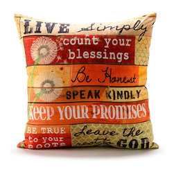 Giftcraft - Red & Yellow Sentiment Pillow - Rest your head on good thoughts whenever you feel tired with this sentiment pillow. �� 16'' W x 16'' H Polyester / burlap Imported