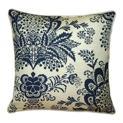 Pillow Decor - Pillow Decor - Rustic Floral Blue 20 x 20 Throw Pillow - This gorgeous throw Pillow features a bohemian floral pattern in blue, printed on a beautiful sand colored cotton-linen blend fabric. Seamed with self-piping, this pillow offers the versatility to fit into a wide range of decor styles from modern-contemporary to country or traditional, and in settings that are either casual or formal.