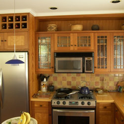 Kitchen - Figured Cherry and Solid Cherry Kitchen Cabinets With Glass Front Uppers, Solid Maple Countertops