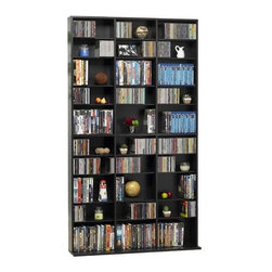 """Atlantic - 1080 CD / 504 DVD / 576 Blu-ray  Multimedia Storage Rack - Features: -Holds up to 1080 CDs or 504 DVDs or 576 Blu-rays.-3 columns.-6 fixed shelves and 30 adjustable shelves.-Commercial Use: No.-Material: Wood composite / Steel.-Solid Wood Construction: No.-Number of Items Included: 1.-Weather Resistant or Weatherproof: No.-Scratch Resistant: No.-Heat Resistant: No.-Stain Resistant: No.-Drawers Included: No.-Exterior Shelves Included: Yes.-Cabinets Included: No.-Distressed: No.-Recycled Content: No.-Eco-Friendly: Yes.-Product Care: Wipe clean with a dry cloth.-Storage Capacity: 1080 CDs / 504 DVDs / 576 Blu-Rays.-Wall Mountable: No.Specifications: -ISTA 3A Certified: Yes.Dimensions: -Overall Height - Top to Bottom: 71.25"""".-Overall Width - Side to Side: 40"""".-Overall Depth - Front to Back: 9.13"""".-Overall Product Weight: 61.10 lbs.-Shelving: Yes.Assembly: -Assembly Required: Yes.-Tools Needed: Screwdriver and hammer.-Additional Parts Required: No.Warranty: -Product Warranty: 1 Year limited."""