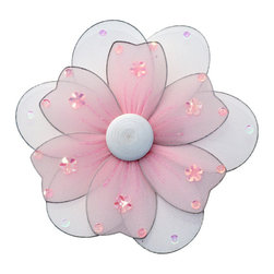 Bugs-n-Blooms - Hanging Flower X-Large Pink Multi-Layered Nylon Flowers Decor Girls Room - Hanging Multi-Layered Flower - Beautiful nylon hanging kids wall or ceiling decor, baby decoration, childrens decorations.  This gorgeous flower has white back petals colored front petals, wooden center & color matched sequins. Ideal for Baby Nursery Kids Bedroom Girls Room.  This gorgeous flower has white back petals colored front petals, wooden center & color matched sequins.  This pretty daisy flower decoration is made with a soft bendable wire frame. Beautiful 3D hanging nursery, bedroom, birthday party, baby shower or wedding decor.  Includes a piece of fishing line and hoop for easy hanging to any wall or ceiling (removable if desired).  Sold individually.  Visit our store for more great items.  Additional sizes are available in various colors, please see store for details.  Please visit our store on 'How To Hang' for tips and suggestions.  Please note: Sizes are approximate and are handmade and variances may occur.  Price is per each flower (1) piece