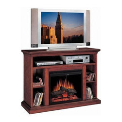 Fireside Distributors - 28 in. Media Electric Fireplace in Cherry Wood Veneer Finish - With an open shelf for electronic components and side shelves for movie and music storage, this media electric fireplace will be a fashionable and functional addition to a bedroom, living room or study. Crafted of hardwood solids and wood veneer in cherry finish, the unit features an LED flame that operates with or without heat and includes a remote control. Multi-function remote control included. TV and accessories not included. Hand-painted smoked fire brick detail side panels. LED flame with rolling and pulsating effects. Operates with or without heat. Five flame and heat settings. Function glass doors with center mount pull. Glass stays cool to the touch. Retractable metal mesh curtain. Crackling log sounds with simultaneous sparking effects and chimney sounds. Thermostat controls room temperature automatically. 1350 Watt/4600 BTUs forced air heater. Constructed from solid hardwoods and wood veneers with hand-carved accents & multi-step finish process. 1-Year CSA approved warranty. Interior Dimensions: 7.75 in. W x 14.25 in. D x 10.75 in. H. Shelf: 43 in. W x 15 in. D x 6 in. H. Overall: 48 in. W x 17 in. D x 35 in. H (150 lbs.)Electric Fireplace Media Center features a shelf for electronic media components. Hand wire management channels. Beautiful and substantial tiered molding top to support today's televisions and fully open storage with adjustable shelves for CDs and DVDs.