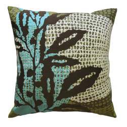 KOKO - Leaves Pillow, Brown - The abstract background of this pillow is a fun contrast with the big leaf image. You'll love all the detail work in the embroidery. It's a beautiful study in color and light that would look great on a bed or sofa.