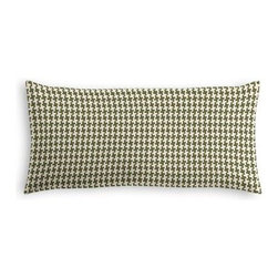 Green Handwoven Houndstooth Custom Lumbar Pillow - The perfect solo statement on a modern chair or bed, the rectangular lines of the Simple Lumbar Pillow are effortlessly chic. We love it in this green and cream woven cotton houndstooth that will cozy up the classic home.