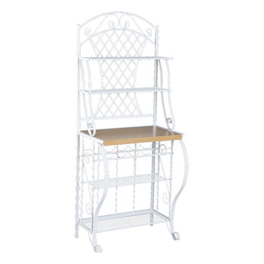 Holly & Martin - Atlanta Baker's Rack - Crafted for style and function, this country chic bakers rack is a welcome addition to any kitchen. Constructed of metal for durability, the frame contains many ornate details such as the scrolled legs, shelf braces, and decoration. The top edge has a decorative arch with leaf accents that sits atop the attractive trellis back. This lovely bakers rack has 4 wire shelves, a 5 bottle wine rack and an ample counter space for all your storage needs.