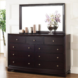 Abbyson Living - Abbyson Living Kingston Espresso 9-drawer Dresser and Mirror Set - Enrich your home decor with this Kingston espresso finish nine-drawer dresser and mirror set. This set features solid oak wood construction and is perfect to update any bedroom decor.
