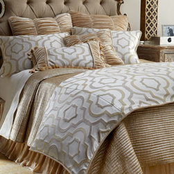 """Isabella Collection by Kathy Fielder - Isabella Collection by Kathy Fielder Standard Constantine Sham - Enrich your bed with the texture and dimension of """"Constantine"""" bed linens from Isabella Collection by Kathy Fielder. Geometric and ruched velvet linens are made in the USA of imported polyester, silk/rayon velvet, and polyester/cotton fabrics. Dry cl..."""