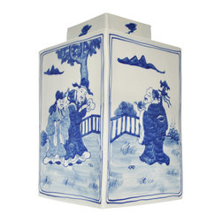Blue and White Hand Painted Ginger Jar - Celebrating a tradition of  timesless style, our blue and white porcelain jar features a hand painted whimsical and intricately detailed chinoiserie scene.