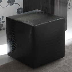 Rossetto - Nightfly Black Pouf - A simple, but ingenious, design element is found in the Rossetto Nightfly Black Pouf. This faux leather design is so versatile that it works in any room in your home. Ideal for the bedroom as a night stable or the living room as an ottoman. Add a glass top for a unique accent table. No matter what you decide, you can't go wrong with this interesting and effective element.