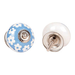 MarktSq - Ceramic Knob In Blue And White (Set Of 4) - Hand painted with vibrant floral design.