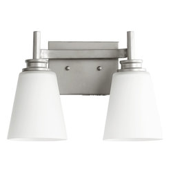 Quorum Lighting - Quorum Lighting Friedman Modern / Contemporary Wall Sconce X-46-2-2005 - Dual lights and modern diffusers create a clean, updated feel to this Quorum Lighting wall sconce. From the Friedman Collection, this contemporary wall sconce pairs the modern tones of a Classic Nickel finish with the crisp look of satin opal glass, creating a clean and versatile style for bedrooms, hallways, family rooms and more.