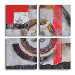 Four panel loop Hand Painted 4 Piece Canvas Set - This hand-painted canvas set gives you an opportunity to be creative. Hung together, they are four parts of a whole. But separated, they are each a piece of art. Together, apart. Your choice.