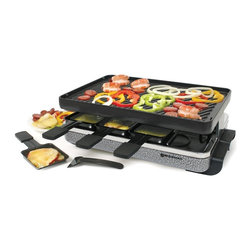Swissmar - Swissmar Eiger 8 Person Raclette with Reversible Cast Iron Grill Plate Multicolo - Shop for Griddles & Grill Pans from Hayneedle.com! Have some food fun with the Swissmar Eiger 8 Person Raclette with Reversible Cast Iron Grill Plate. With this excellent grill you and your guests will be equipped to create a smorgasbord of cheesy grilled goodness. Just place your chosen foods into your own raclette pan and let it cook then mix it with other ingredients to create a mouth-watering concoction. The grill plate is reversible allowing for griddle or grill function and it's non-stick for easy cleaning. The grill is crafted stone and cast aluminum for durability. Each side of the grill has its own temperature control as well. Eight heat-resistant spatulas are included.