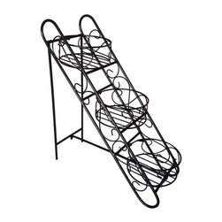 None - Folding Three Basket Folding Plant Stand - This three-basket plant stand makes a great accessory to your patio. With a durable powder-coated iron construction, this plant stand will look pristine for many seasons.