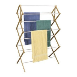 Household Essentials 5005 Collapsible Wood Drying Rack - Large load? No problem! The Household Essentials 5005 Collapsible Wood Drying Rack gives you the ultimate amount of space for drying big items like bedsheets or for drying entire loads at once. You've never seen drying capacity like this - a total of 11 .5-inch dowels offer 29 feet of drying space. Cut your power bill in an instant by giving your dryer a break.This clothing rack has a durable wooden frame and the hanging dowels are coated in vinyl to keep your clothes clean and snag-free. Thanks to their jumbo size they can support plenty of weight and still stay stable. When not in use this rack folds flat for storage. When set up it measures 34.5L x 18.5W x 52H inches.