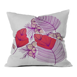 DENY Designs - DENY Designs Gabi Sea Leaves Outdoor Throw Pillow - 15845-OTHRP18 - Shop for Cushions and Pads from Hayneedle.com! Look at the leaves a different way with the DENY Designs Gabi Sea Leaves Outdoor Throw Pillow. Crafted with water- and mildew-proof woven polyester this square throw pillow boasts artfully rendered sea leaves in shades of bright magenta and red against a soft white background. Toss it on your favorite chair or lounger indoors or out. Spot clean with mild detergent. Available in 18- and 20-in. sizes.About DENY DesignsDenver Colorado based DENY Designs is a modern home furnishings company that believes in doing things differently. DENY encourages customers to make a personal statement with personal images or by selecting from the extensive gallery. The coolest part is that each purchase gives the super talented artists part of the proceeds. That allows DENY to support art communities all over the world while also spreading the creative love! Each DENY piece is custom created as it's ordered instead of being held in a warehouse. A dye printing process is used to ensure colorfastness and durability that make these true heirloom pieces. From custom furniture pieces to textiles everything made is unique and distinctively DENY.
