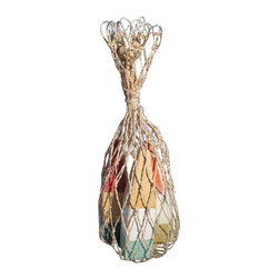 Nautical Wood Miniature Buoys- Orange/White/Yellow, Yellow/White/Aqua, Red/Yello - Set of three miniature buoys strung with a jute cord and packaged in a genuine fish net bag.