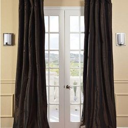 Half Price Drapes - Java Faux Silk Taffeta Single Panel Curtain, 50 X 96 - - Defined by a unique sheen and fine weave, our exclusive faux silk taffeta curtain panels are gorgeous and timeless. They have a crisp smooth finish in brilliant shimmering colors. Color is a medium silver grey.   - Single Panel   - 3 Rod Pocket   - Corner Weighted Hem   - Pole Pocket with Back Tab & Hook Belt Attached. Can be hung using rings. (Not Included)   - Dry clean   - Taffeta 53% Polyester & 47% Nylon   - Lined with a cotton blend material  - 50x96   - Imported   - Brown Half Price Drapes - PTCH-JTSP190912-96