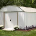 Arrow Sheds - Arrow Lexington 10x14-foot Storage Shed - Arrow Lexington 10x14-foot steel storage shed is constructed of electro galvanized steel for corrosion resistance complemented by a high gable with reinforced steel roof. Sliding doors offer easy entry and exit.