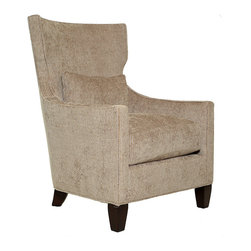 Wan- Accent Chair - Wan Modern WIng Chair with Curve back and Accent Lumbar Cushion.  Avail and shown in Beautiful Multi-color Chenille from S-Harris.