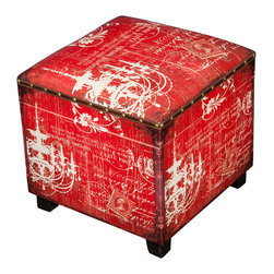 Winward Designs - Chandelier Wood Ottoman - An art nouveau chandelier pattern decked ottoman on footed wood. Featuring wood and metal detailing across the upper rim, this item is no doubt a luxury to have at home. Bring this eclectic item home and watch it pop against your existing furniture!