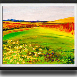 "Ann Rea - Bring home Alexander Valley with ""Vineyard Blooms"" by Ann Rea, Black Frame, Smal - ""Spring flowers emerge through the tall grass covering Silver Oak Cellar's Alexander Valley vineyards."" -Ann Rea"
