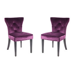 Armen Living - Elise Side Chair, Set Of 2, Purple - Need an extra dining chair? This rich velvet dining chair stores easily when the guests leave or use them around a dinette or game table. Thick foam padding and California Fire Retardant rated. Armen Living is the quintessential modern-day furniture designer and manufacturer. With flexibility and speed to market, Armen Living exceeds the customer s expectations at every level of interaction. Armen Living not only delivers sensational products of exceptional quality, but also offers extraordinarily powerful reliability and capability only limited by the imagination. Our client relationships are fully supported and sustained by a stellar name, legendary history, and enduring reputation. The groundbreaking new Armen Living line represents a refreshingly innovative creative collaboration with top designers in the home furnishings industry. The result is a uniquely modern collection gorgeously enhanced by sophisticated retro aesthetics. Armen Living celebrates bold individuality, vibrant youthfulness, sensual refinement, and expert craftsmanship at fiscally sensible price points. Each piece conveys pleasure and exudes self expression while resonating with the contemporary chic lifestyle.