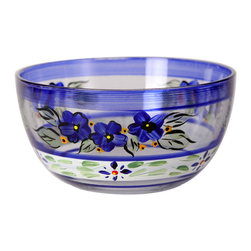 "Blue Floral 6"" Bowl - This is a 6"" bowl which is hand painted is a blue floral design which works beautifully with Polish Pottery.  Perfect for the holidays or any season.  Something to be handed down from generation to generation. Proudly hand painted in the USA."