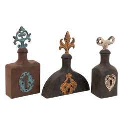 Benzara - Stopper Bottle with Bright Designs - Set of 2 - Keep this 11 in. H Metal Stopper Bottle with Bright Designs (Set of 2) as a decor item in your living room and accentuate the look of your interiors with style and class. Place it in the bathroom filled with perfumed oils or in the bedroom with massage oils, it would add value to the interiors. Antique looking bottles in three dark colors with bright designs in the middle are sure to complement both conventional and modern styled interiors. Painted with a worn-out look, these metal bottles give an antique feel to your decor. Imaginatively designed in three different shapes, this set of metal stopper bottle is sure to garner attention from your guests. Built with fine quality metal, its durability aspect is taken care of. These metal bottles will stay with you for a long time with the same charm.
