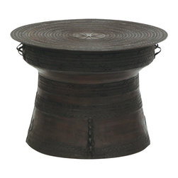 Kathy Kuo Home - Dongson Global Bazaar Large Bronze Rain Drum Side Table - Hand-forged with native designs, including a central sunburst on the circular top, this pressed bronze rain drum will collect compliments and admiration. As an impressive table on the porch or an indoor stool, this decorative drum is vivid and versatile. When used outdoors, patina will weather with age.