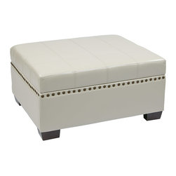 Office Star - Office Star Avenue Six Detour Storage Ottoman with Tray in Cream Eco Leather - Detour storage Ottoman with tray in cream eco leather