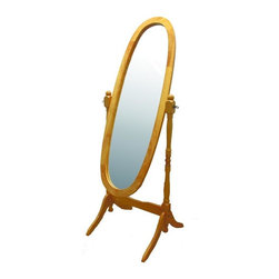 ORE International - Natural Wooden Cheval Floor Mirror - Oak finish reproduction of the Cheval mirrors found in homes before the turn of the century. Adjustable full length free standing oval Cheval mirror stands. Tilts to any angle. Easy assembly. Dimensions: 23 in. L x 20 in. W x 59.25 in. H ( 20 lbs. )